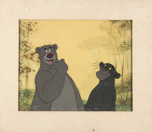 The Jungle Book Baloo Production Cel Walt Disney 1967 Art Corner Baloo and Bagheera Original Animation Art - The Cricket Gallery
