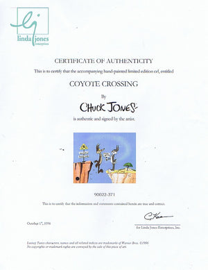 Signed CHUCK JONES Coyote Cross LIMITED EDITION of 750 Warner Bros Bugs Bunny Wile E Coyote 1996 - The Cricket Gallery