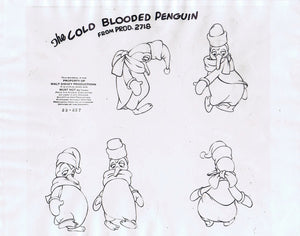Three Cabelleros Original Animation Cel Model Sheet 1945 Walt Disney Cold Blooded Penguin - The Cricket Gallery