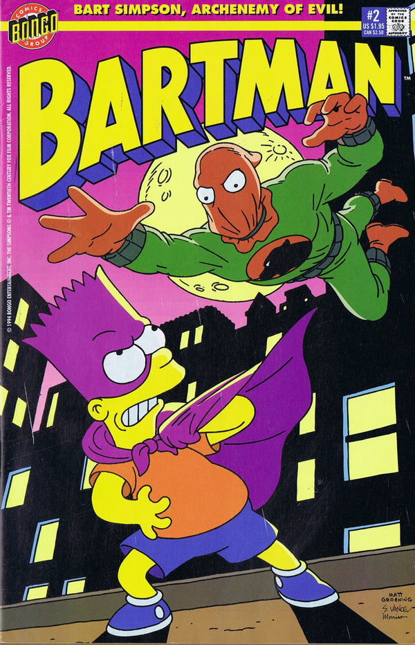 BARTMAN #2 THE PENALIZER SIMPSONS COMIC 1990's Rare Bart Simpson - The Cricket Gallery