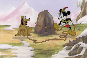 Mickey Pluto Mouse 60th Anniversary Limited Edition Cel 640/950 Walt Disney - The Cricket Gallery