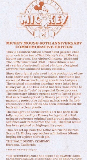 Mickey Mouse Minnie Mouse 60th Anniversary Commemorative Edition Cel Walt Disney - The Cricket Gallery