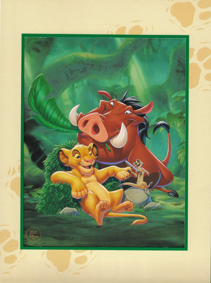 LION KING Limited Edition Lithograph Walt Disney Animation Art Simb, Timon & Pumba - The Cricket Gallery