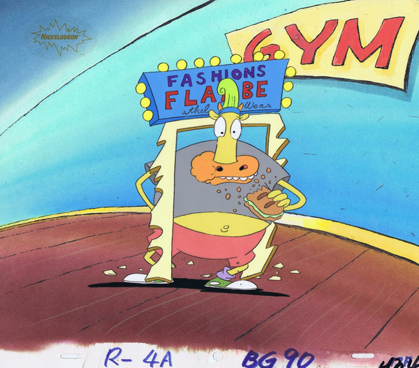 Rocko's Modern Life Original 1990's Production Cel Animation Art Heffer Gym - The Cricket Gallery