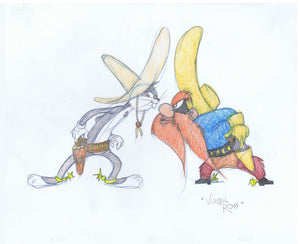 SIGNED Warner Brothers Original Color Drawing Bugs Yosemite Sam Virgil Ross 1990's - The Cricket Gallery