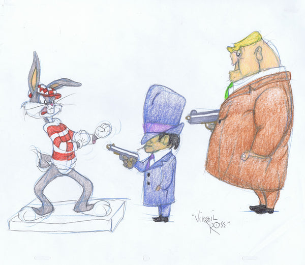 SIGNED Warner Brothers Original Color Drawing Bugs Bunny Gangsters Virgil Ross 1990's - The Cricket Gallery