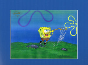 SpongeBob Original 1990's Production Cel Animation Art Jelly Fishing - The Cricket Gallery