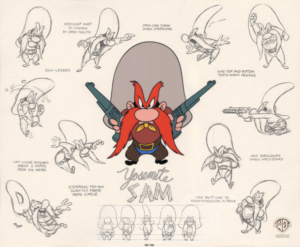 Yosemite Sam Model Sheet 1998 Limited Edition Cel 97/350 Warner Bros. - The Cricket Gallery