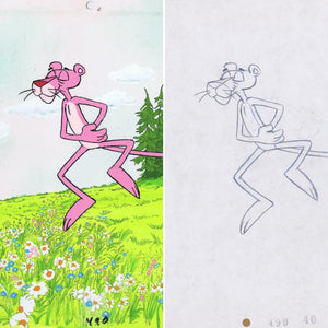 Pink Panther Original Vintage Production Cel Friz Freleng with Matching Drawing - The Cricket Gallery