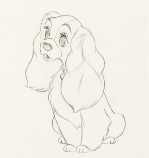 Lady and the Tramp Lady Original Production Drawing Walt Disney 1955 Animation Art - The Cricket Gallery