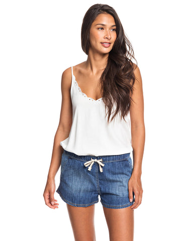 Go To The Beach Elasticized Denim Shorts