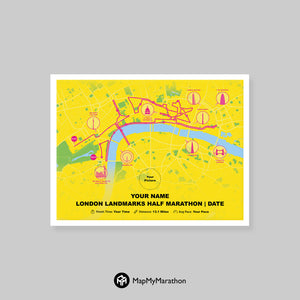 London Landmarks Map.London Landmarks Half Marathon Map