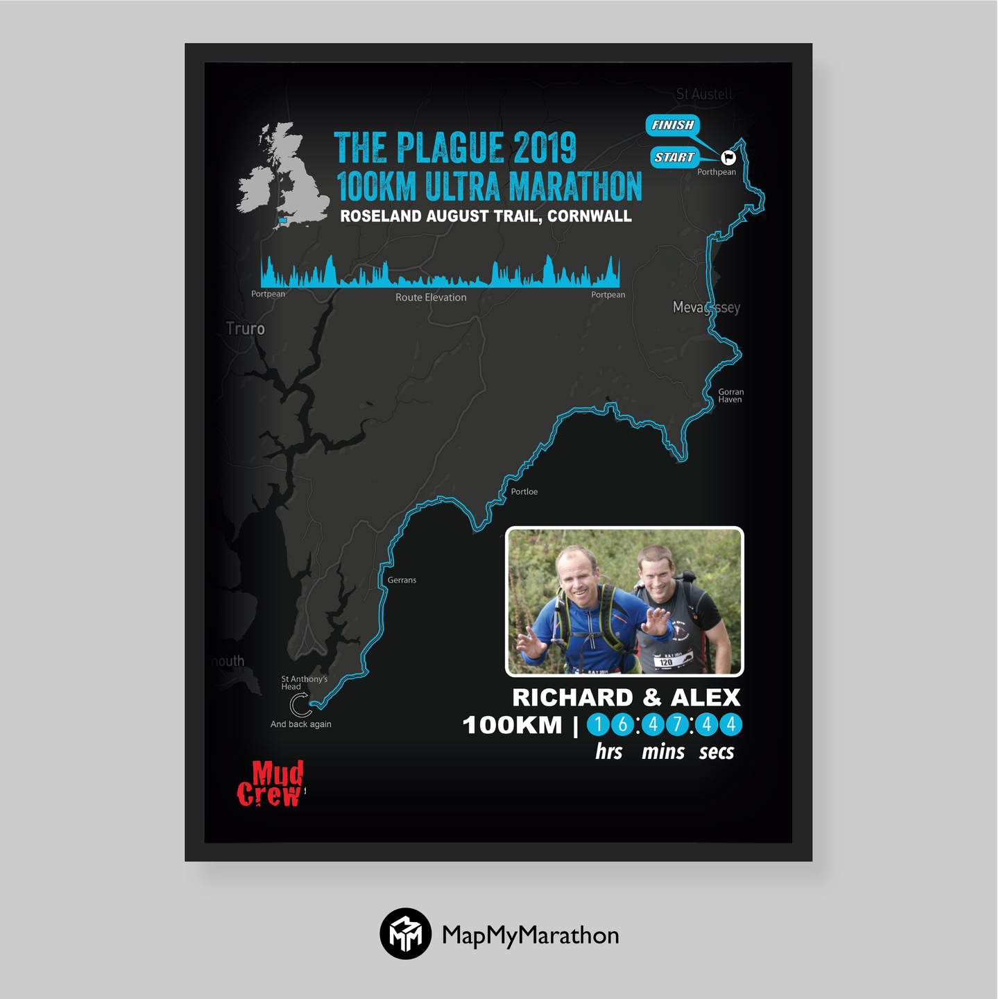The Plague 100KM Personalised Map
