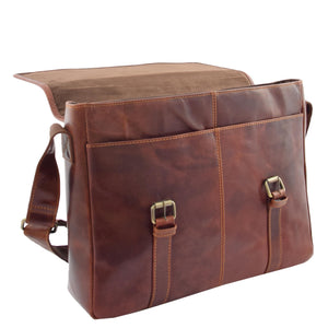 Mens Leather Cross Body Flap Over Briefcase Marland Brown 5
