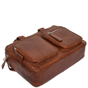 two tone leather laptop bag
