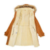 Womens Sheepskin Duffle Coat 3/4 Length Parka Beth Tan White 6
