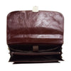 Mens Faux Leather Flap Over Briefcase Windsor Brown 6