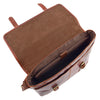 Mens Leather Cross Body Flap Over Briefcase Marland Brown 6