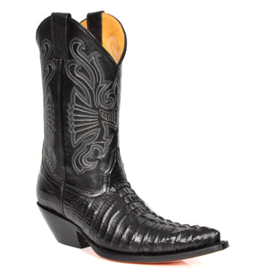 croc printed leather cowboy boots