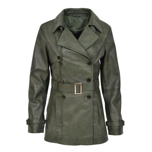 Womens Leather Double Breasted Trench Coat Sienna Green