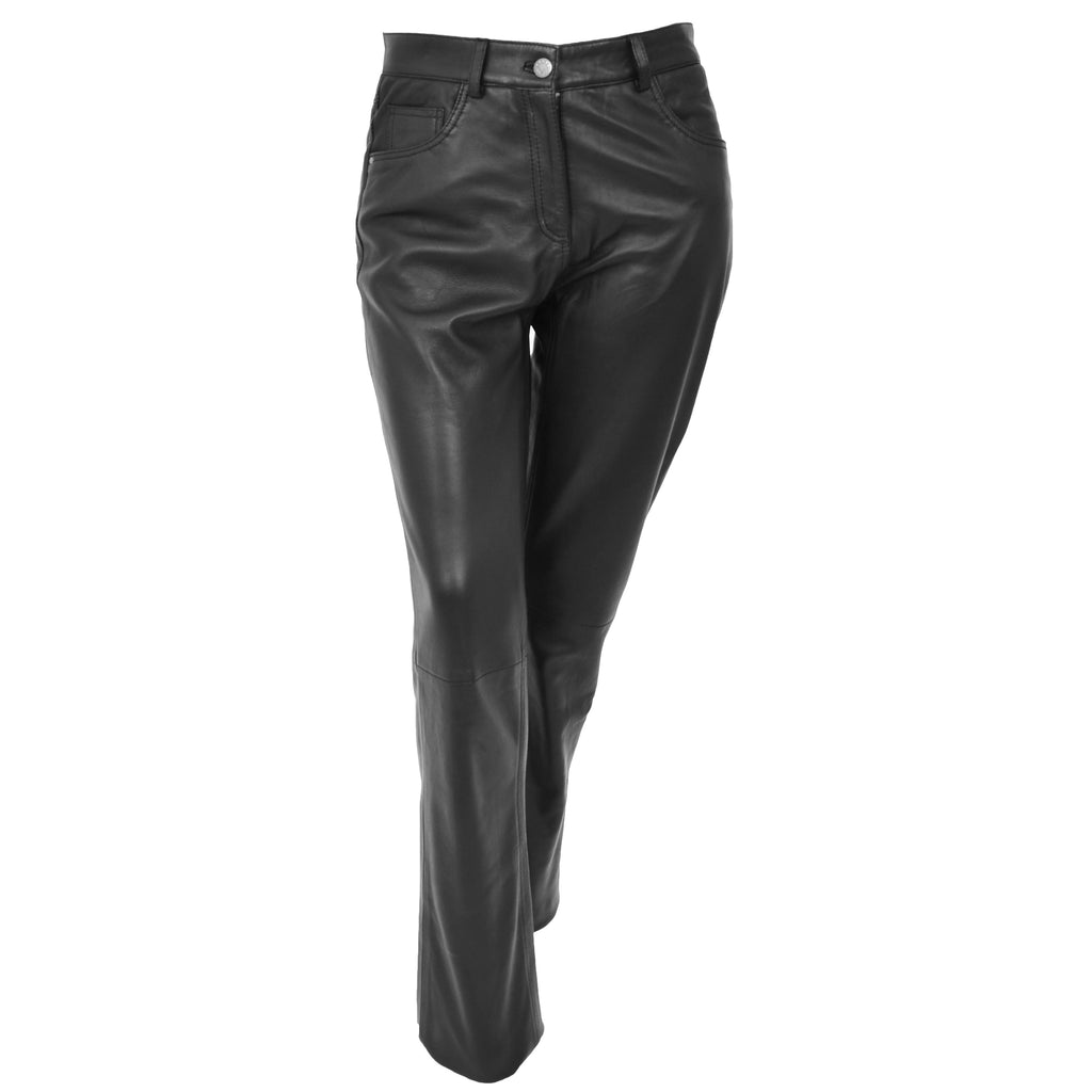 Ladies Leather Slim Fit Trousers Black
