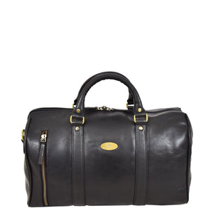 Leather Holdall Small Size Barrel Shape Duffle Bag Athens Black front