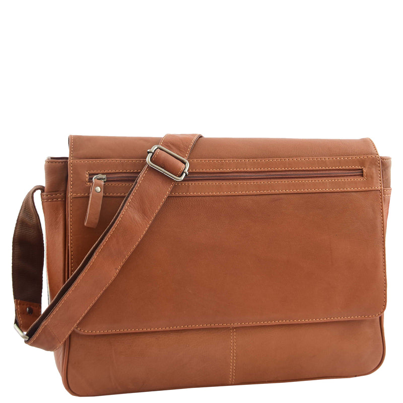 Mens Leather Flap Over Messenger Bag Cheriton Tan 4