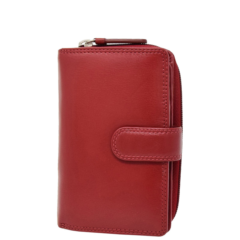 Womens Leather Booklet Style Purse Dublin Red 5