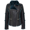 Womens Sheepskin Aviator Pilot Jacket Valerie Black Green
