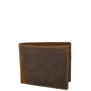 Mens Leather Slim Fold Wallet Prague Oil Tan 1