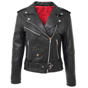 Womens Leather Biker Brando Style Jacket Holly Black