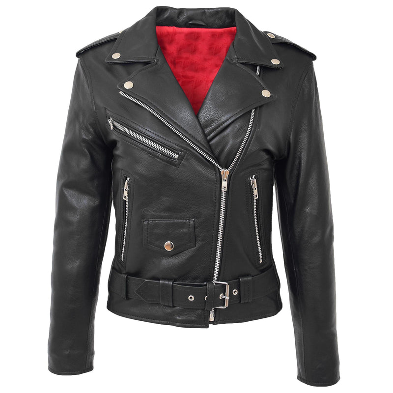 Womens Leather Biker Brando Style Jacket Holly Black 3