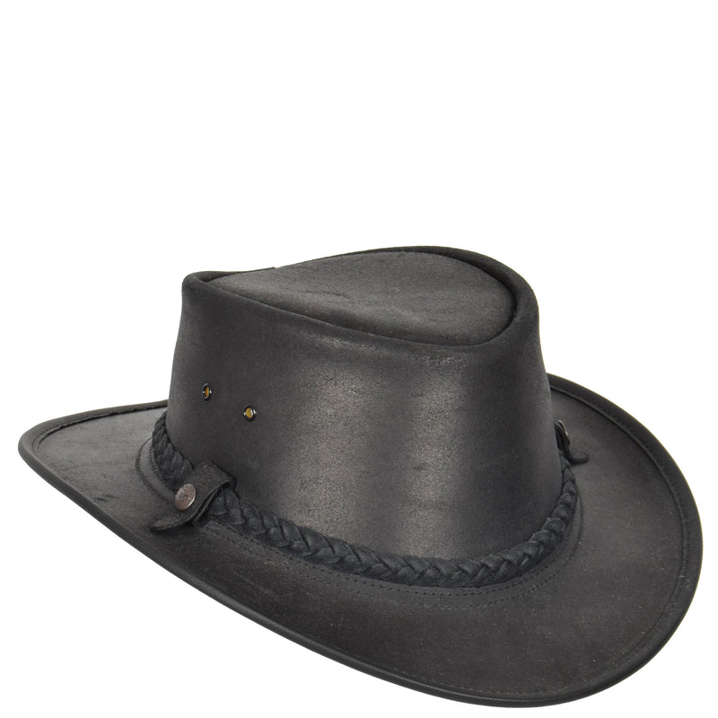 bc branded leather cowboy cap