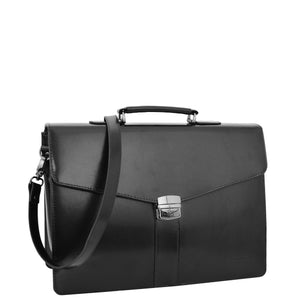 Mens Leather Flap Over Briefcase Dunkirk Black