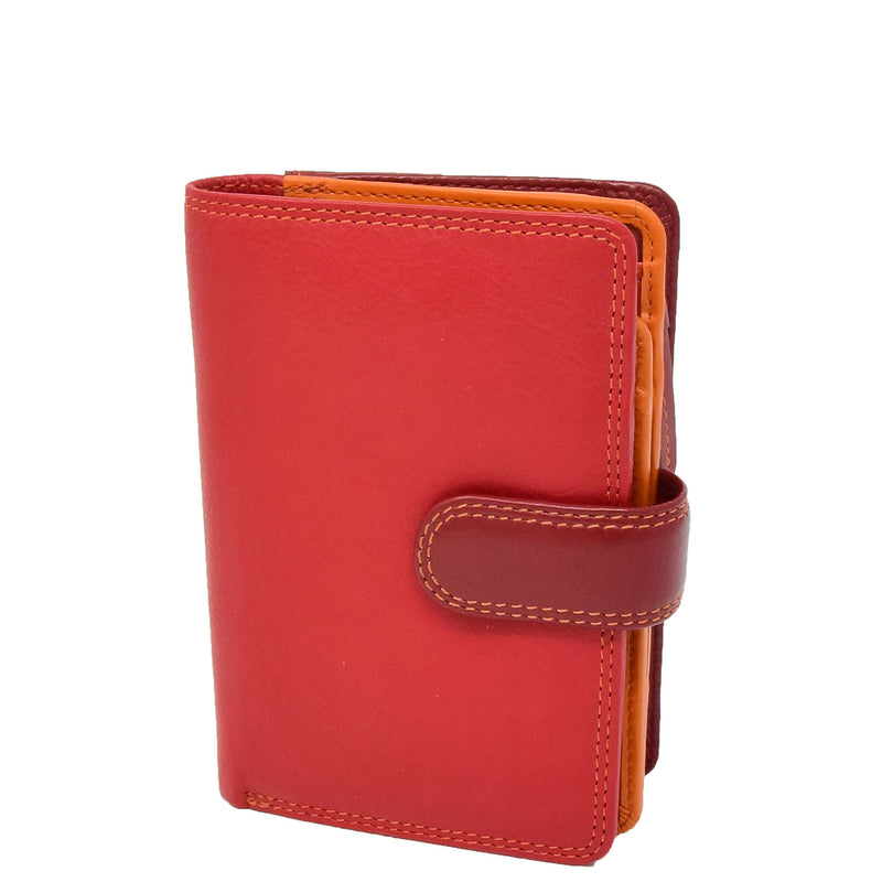 Womens Soft Leather Organiser Purse Lyon Red Multi