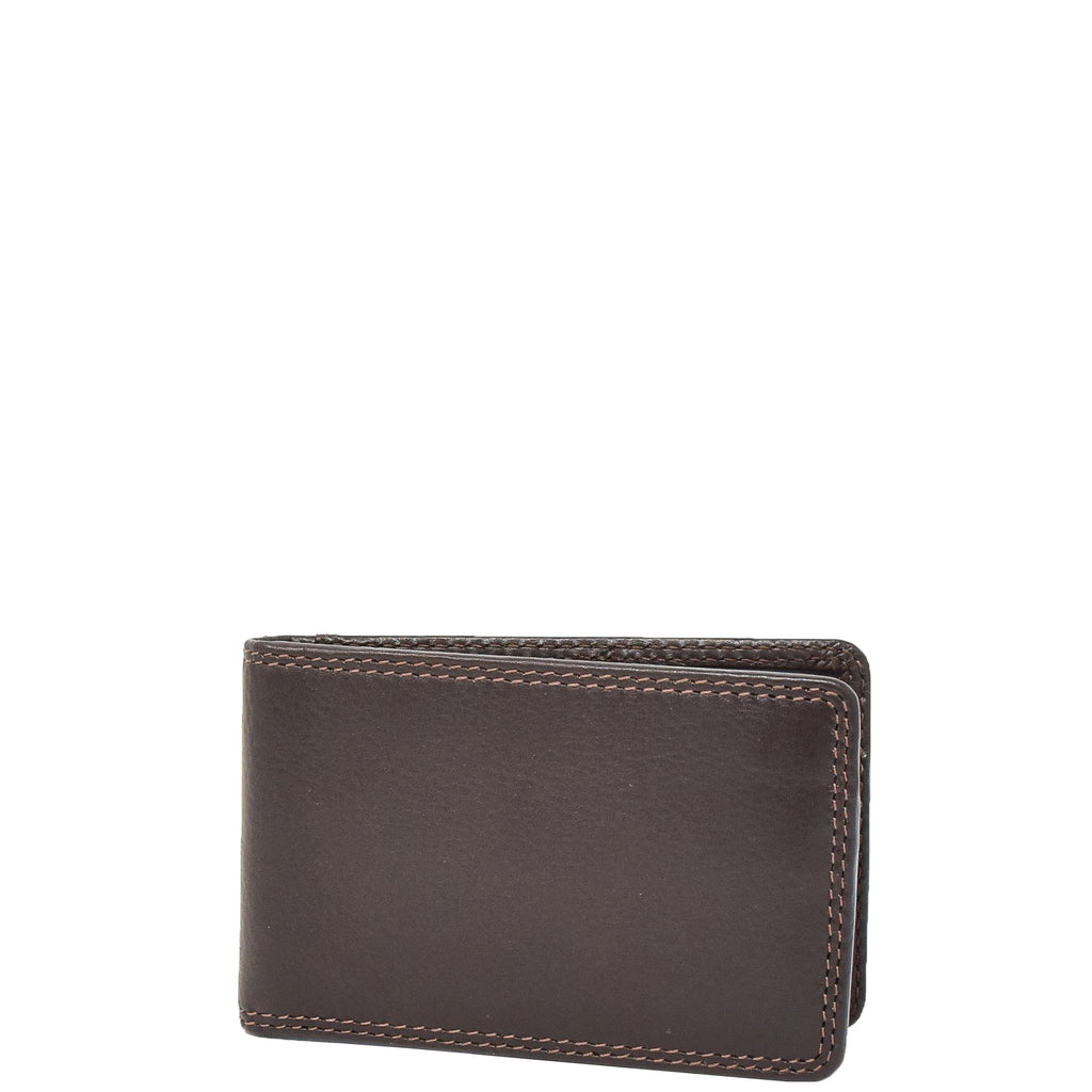Slim Fold Leather Card Wallet Madrid Brown