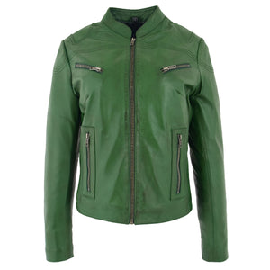 Womens Leather Standing Collar Jacket Becky Green