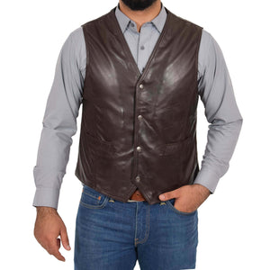 button fastening leather waistcoat