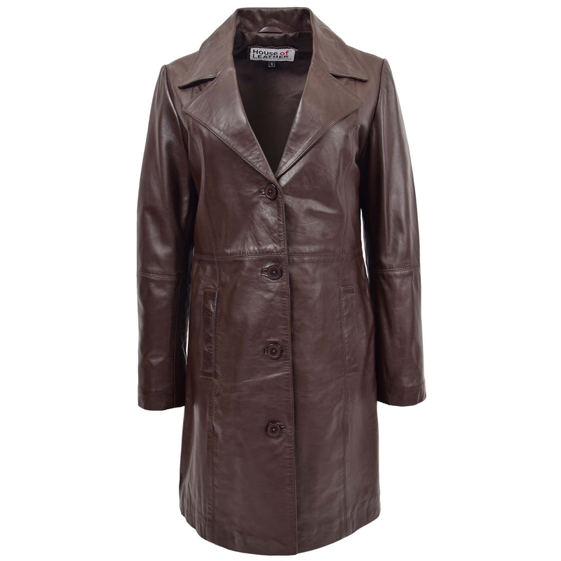 Womens 3/4 Length Soft Leather Classic Coat Macey Brown