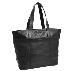 Womens Leather Classic Shopper Bag Black