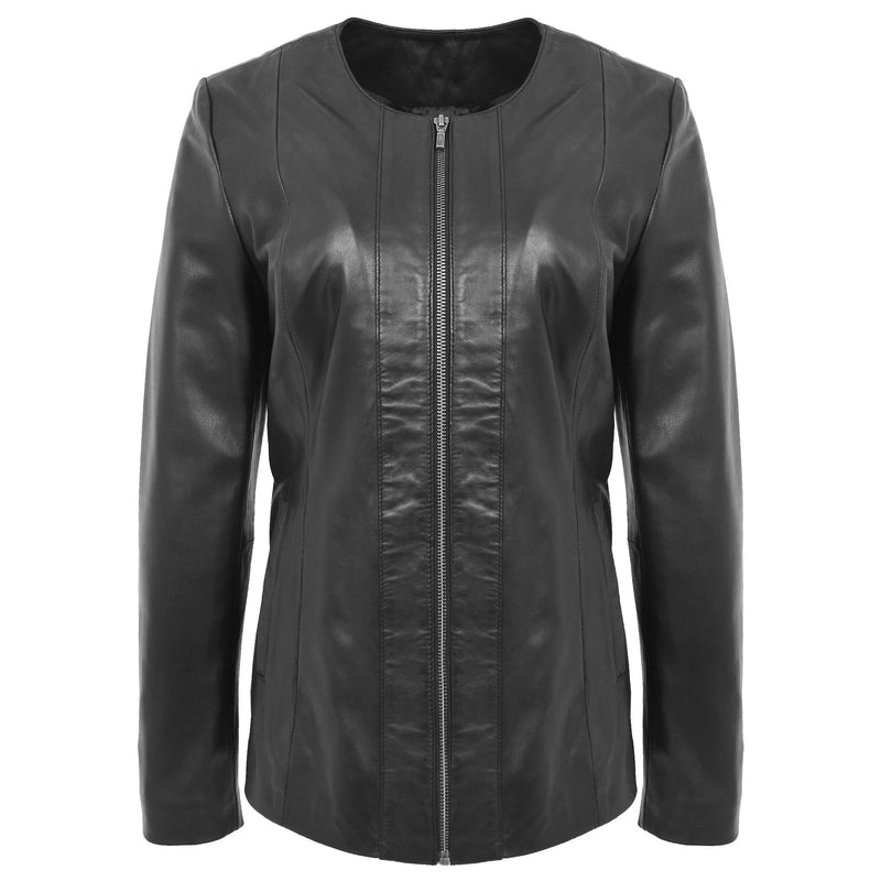 Womens Classic Soft Leather Collarless Jacket Jade Black