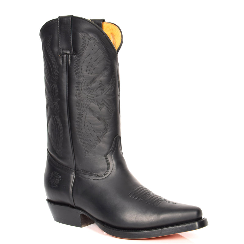 western heel leather boot