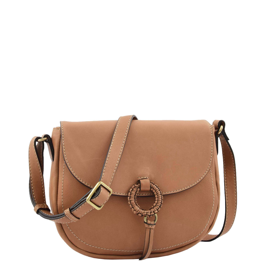 Womens Soft Leather Small Cross Body Bag Hannah Tan