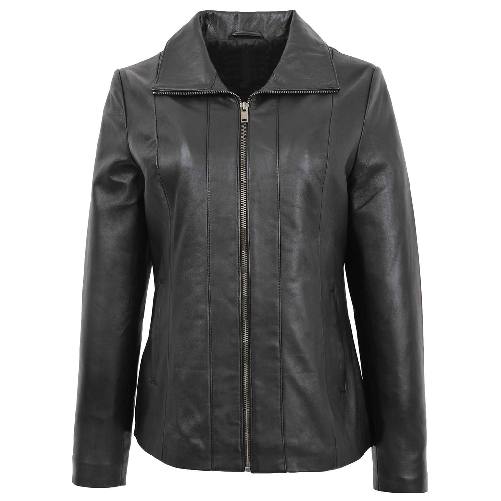 Womens Classic Zip Fastening Leather Jacket Julia Black