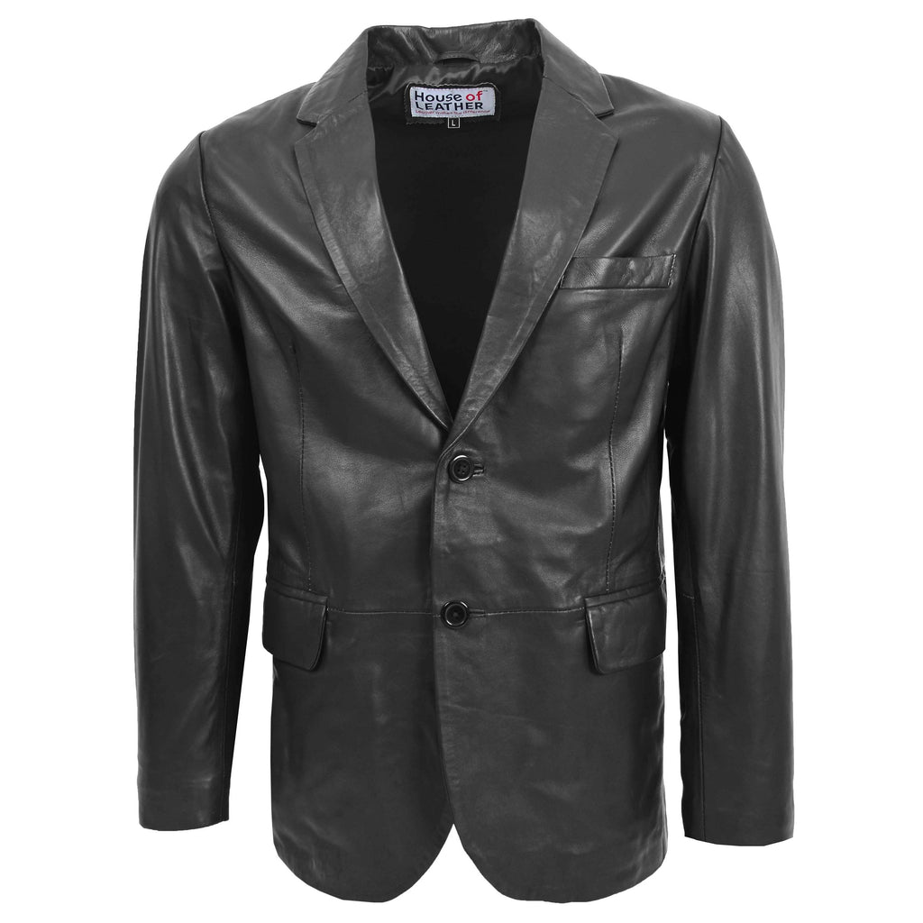 Mens Leather Blazer Two Button Jacket Zavi Black