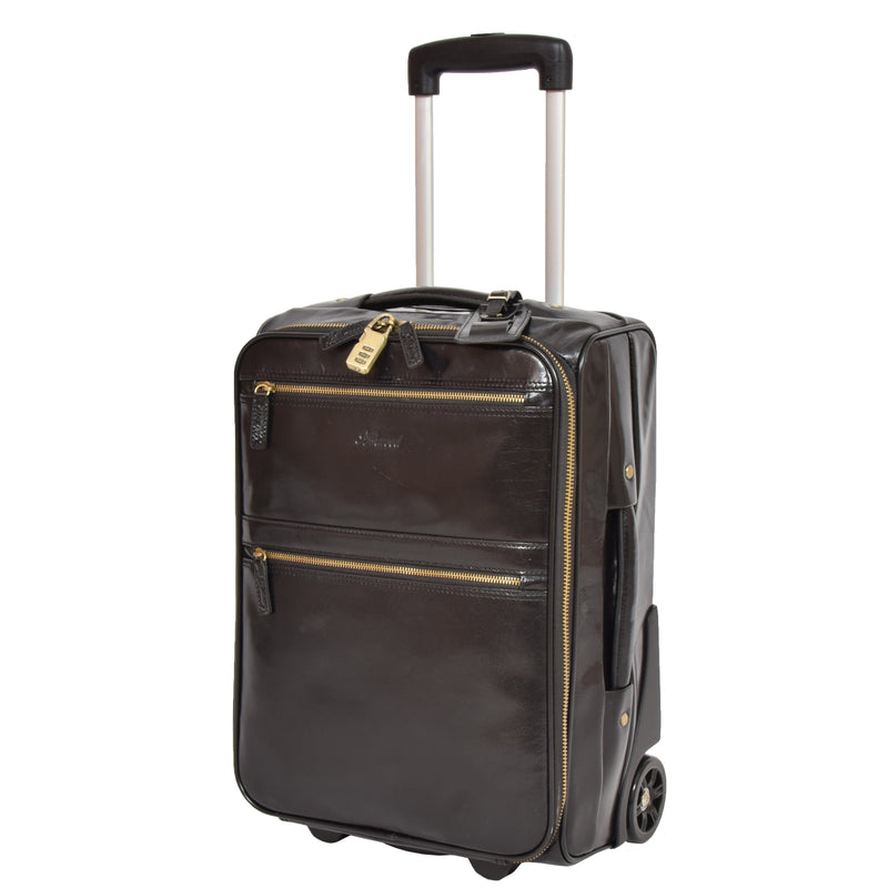 cabin size leather suitcase