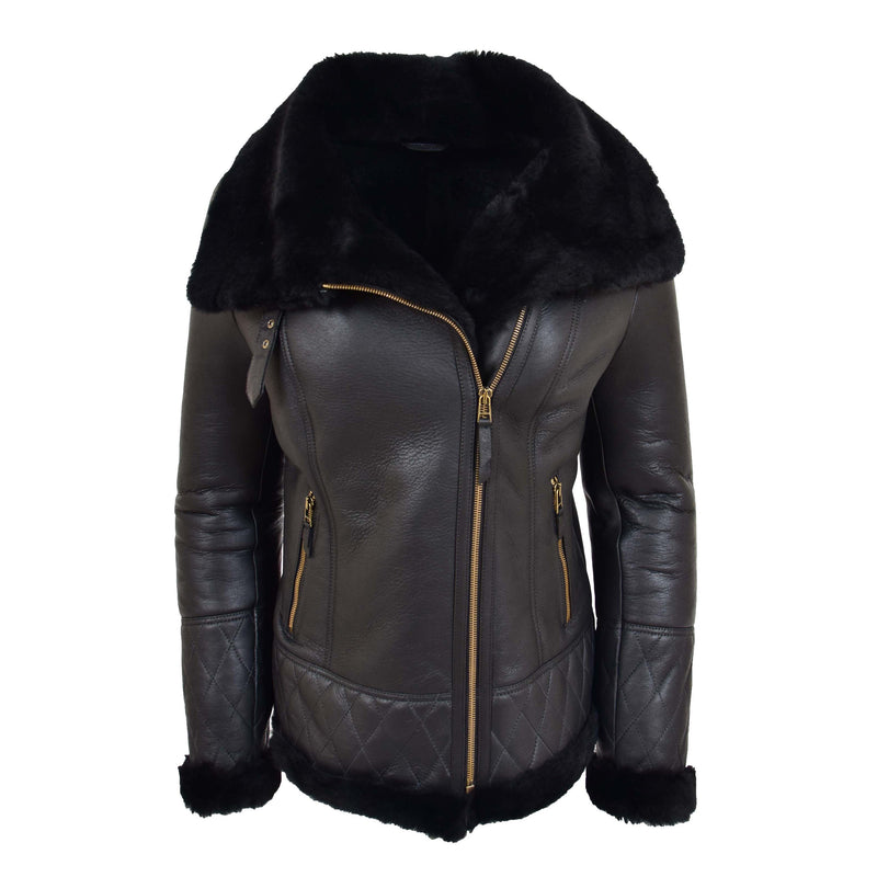 Womens Merino Sheepskin Aviator Jacket Isabelle Black back
