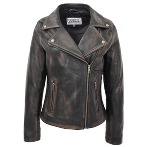 Womens Soft Leather Cross Zip Biker Jacket Lola Vintage Black