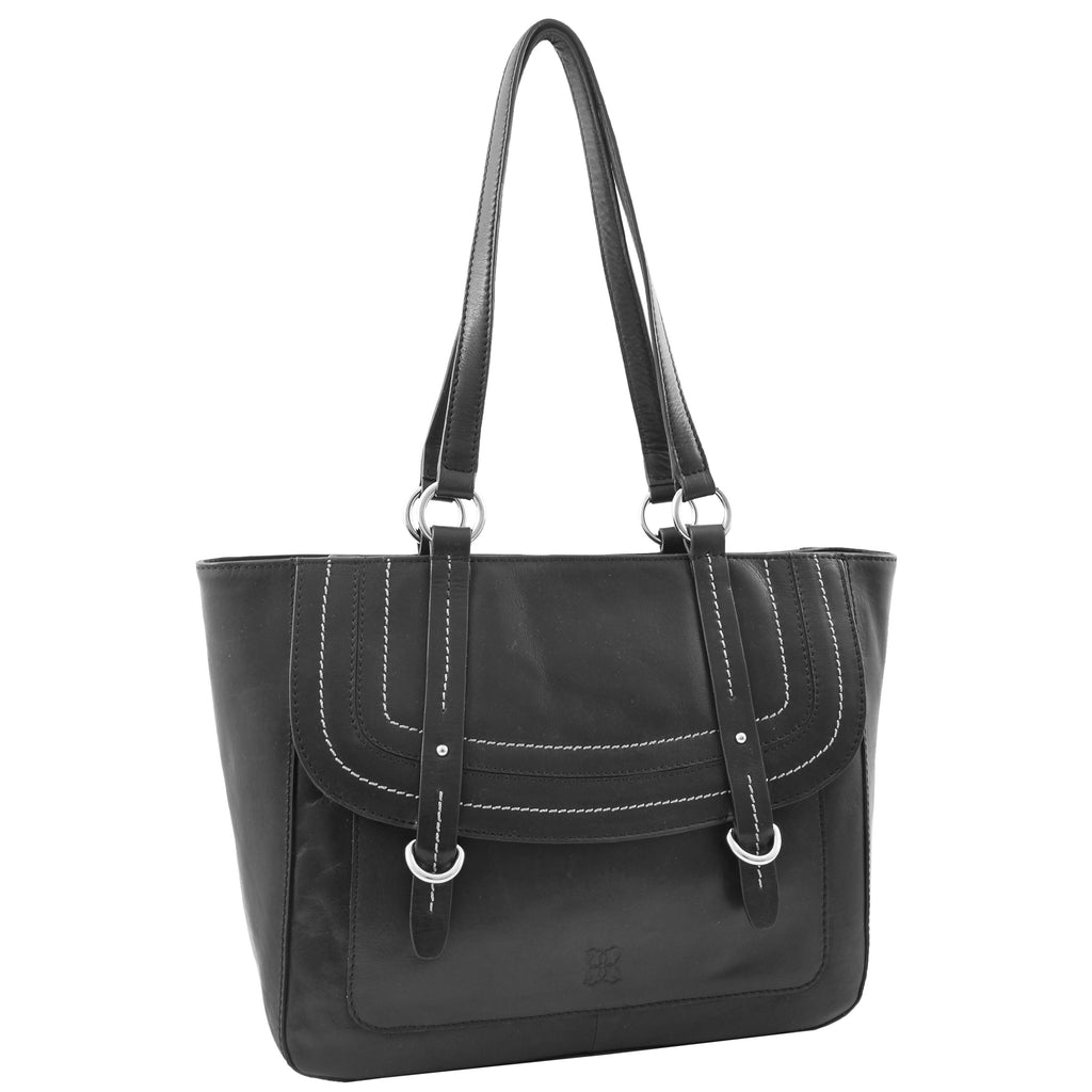 Womens Leather Classic Shopper Fashion Bag Sadie Black