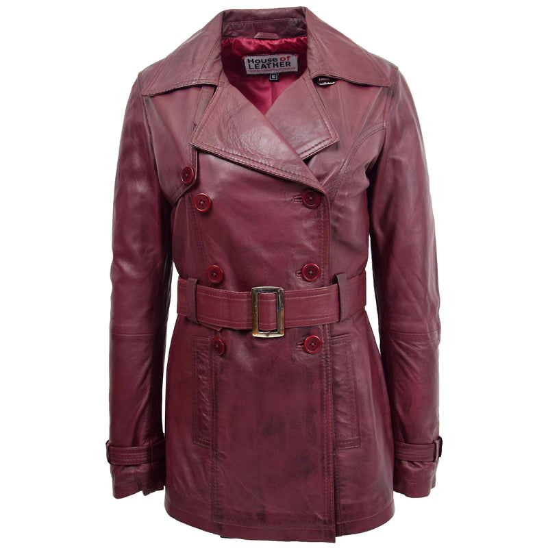 Womens Leather Double Breasted Trench Coat Sienna Burgundy